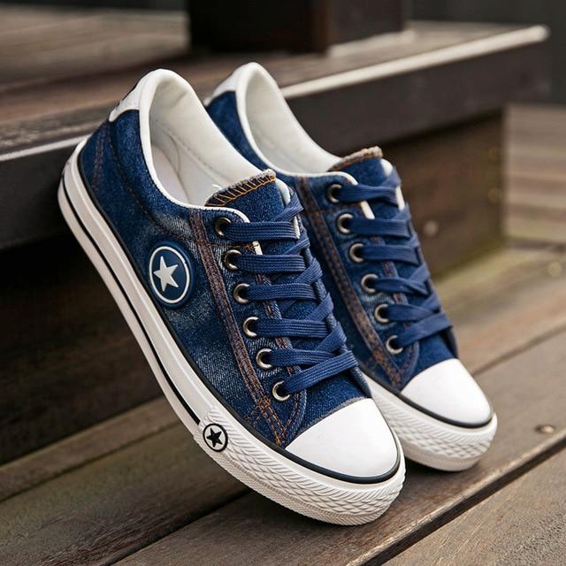 Fashion Women Casual Shoes Trainers Denim Ladies Canvas Shoes New Stars Skateboard Shoes female Flats Basket