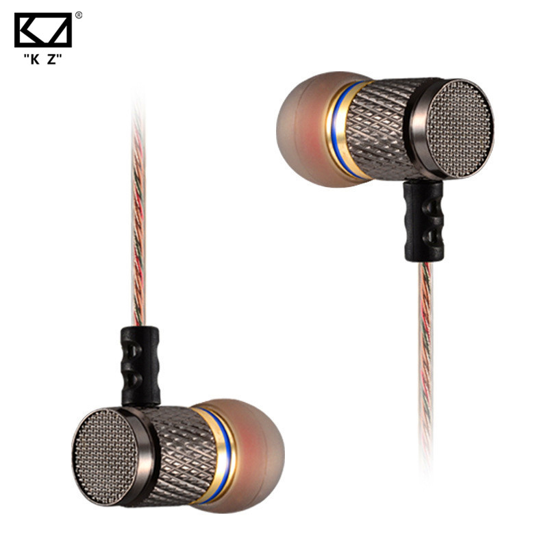 KZ ED2 Professional In-Ear Earphone Stereo Noise Cancelling Metal Super Bass Sound Earphone HIFI Music Earphone with Microphone kz ed2 special edition gold plated housing earphone with microphone 3 5mm hd hifi in ear monitor bass stereo earbuds for phone
