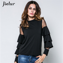 2019 Spring New Small Stand Collar Net Yarn Splicing T-shirts for Women Trumpet Stitching Long Sleeve Lady T-shirt Female M-2XL
