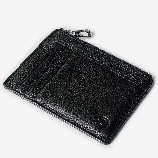 Solid Genuine Leather Credit Card Holder Slim Wallet Men Luxury