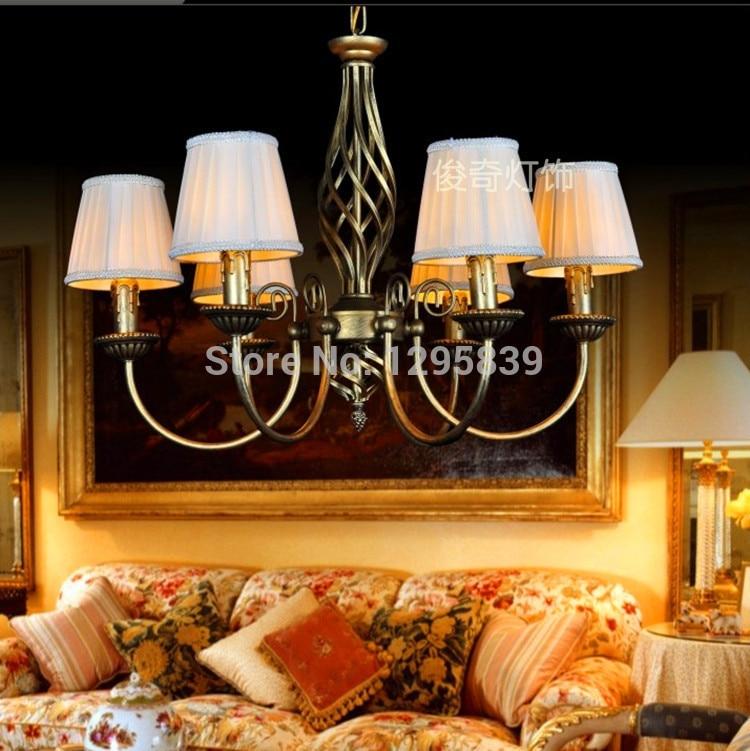 Mediterranean restaurant chandelier lamp vintage wrought iron candle bedroom lamps lighting the living room warm pastoral