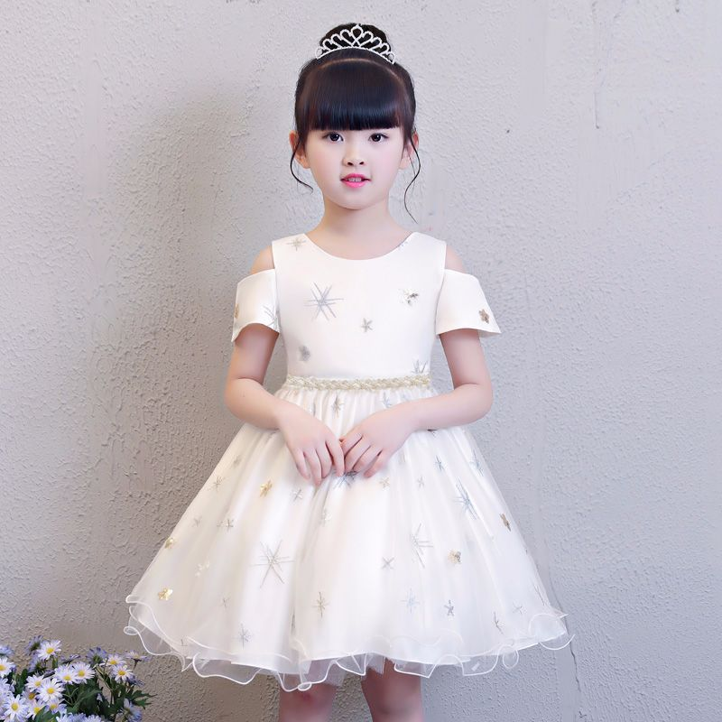 Summer Little Girl Snowflake Mesh Dress Solid White Mesh Tulle Children's day Party Wedding Tutu Vestido Cloth for 4 8 Years Kid