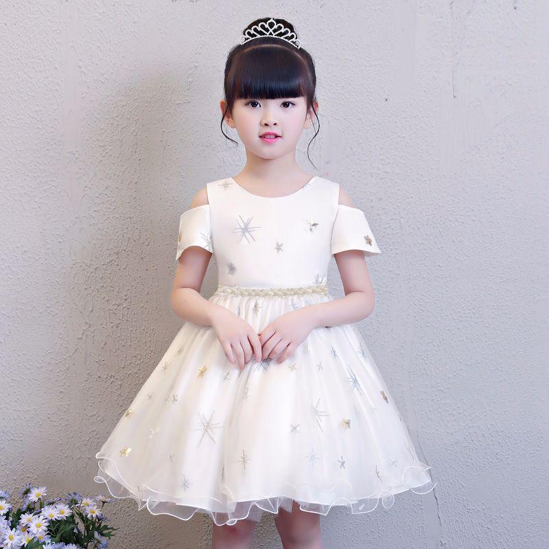 Summer Little Girl Snowflake Mesh Dress Solid White Mesh Tulle Children's day Party Wedding Tutu Vestido Cloth for 4 8 Years Kid