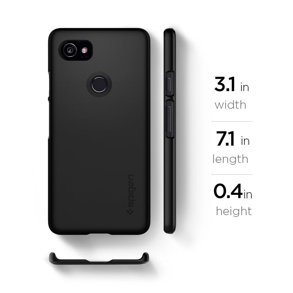 official photos 4d5a6 24df0 US $16.99 |100% Original SPIGEN Google Pixel 2 XL Case Thin Fit Hard Back  Cover Black F17CS22285-in Half-wrapped Case from Cellphones & ...