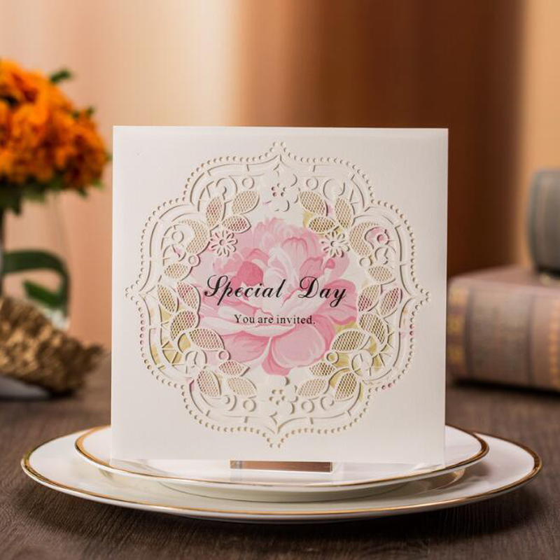 (10 piece/lot)Free Shipping European Style Laser Cut White Lace Flowers Wedding Invitations Cards Wedding Event & Party Supplies