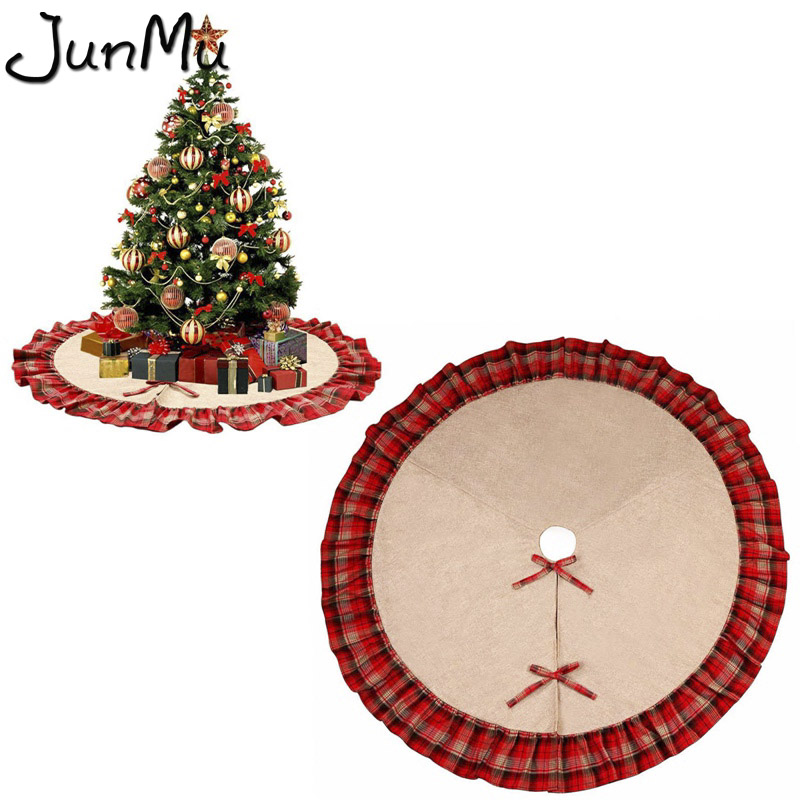 48 christmas tree skirt black and red plaid christmas burlap tree skirt ruffle edge christmas ornaments party decoration in tree skirts from home garden - Plaid Christmas Ornaments