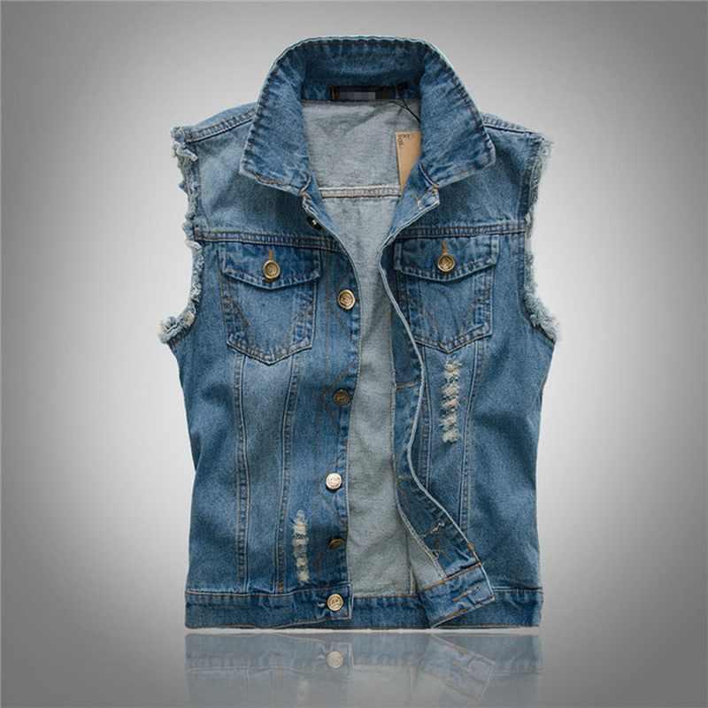 VXO 2019 мужской джинсовый жилет куртка без рукавов повседневное жилет для мужчин джинсовое пальто рваные Slim Fit Мужской Ковбой Отверстие