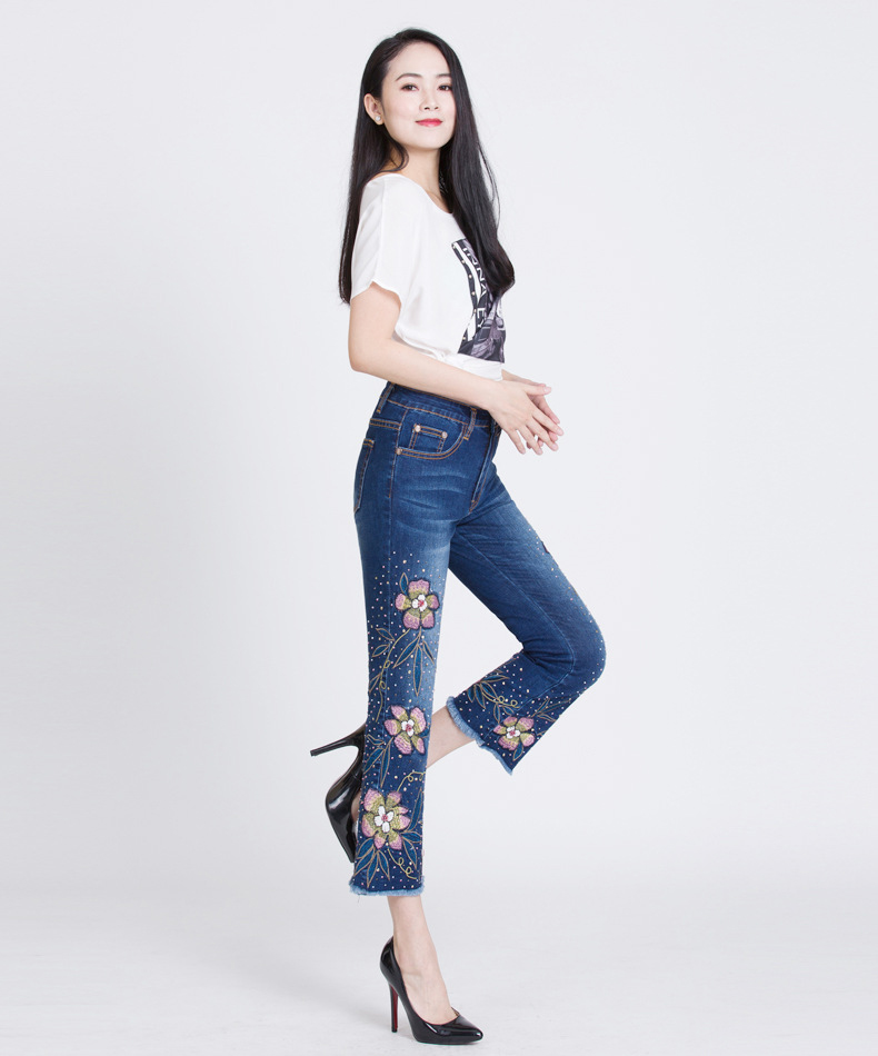 KSTUN Womens Jeans Flare Pants Stretch Slim Fit High Waisted Sequin Embroidered Floral Denim Sexy Ladies Push Up Big Size Mujer 15