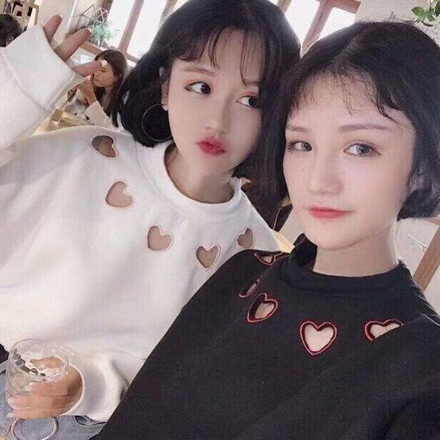 Kpop Women Top Plus Velvet Padded Sweatshirt Female Spring Turtleneck Loose Harajuku Student Heart Hollow Embroidery Bts M 2 Xl by Chidrizawa
