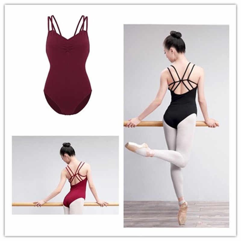 MSemis Women Adult Ballet Dance Leotard Spaghetti Straps Criss Cross Shelf Bra Leotard Gymnastics Bodysuit Ballet Dancewear Lady