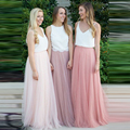 Faldas de la dama de honor Por Encargo de La Cintura Natural Una Línea de Longitud del Piso Falda Tutú De Tul Suave Largo Maxi Faldas de Las Mujeres