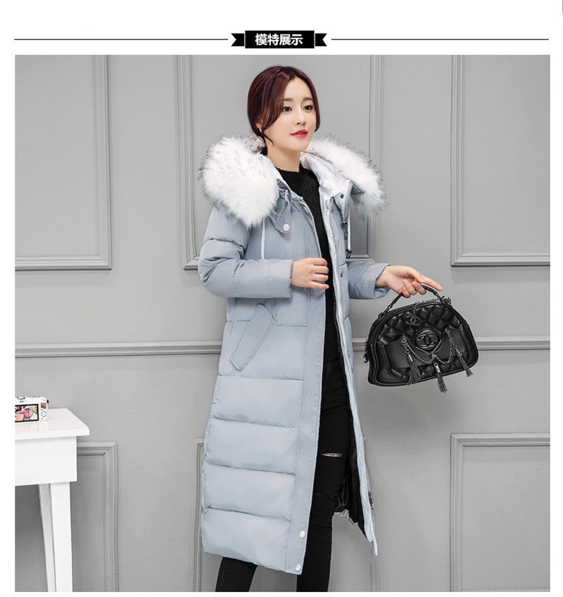 f6a384f1315 2017 Winter New Women Plus Size Down   Parkas Long Jacket Korean Thick Slim  Warm Fur Collar Hooded Cotton Coat Female Black Gray