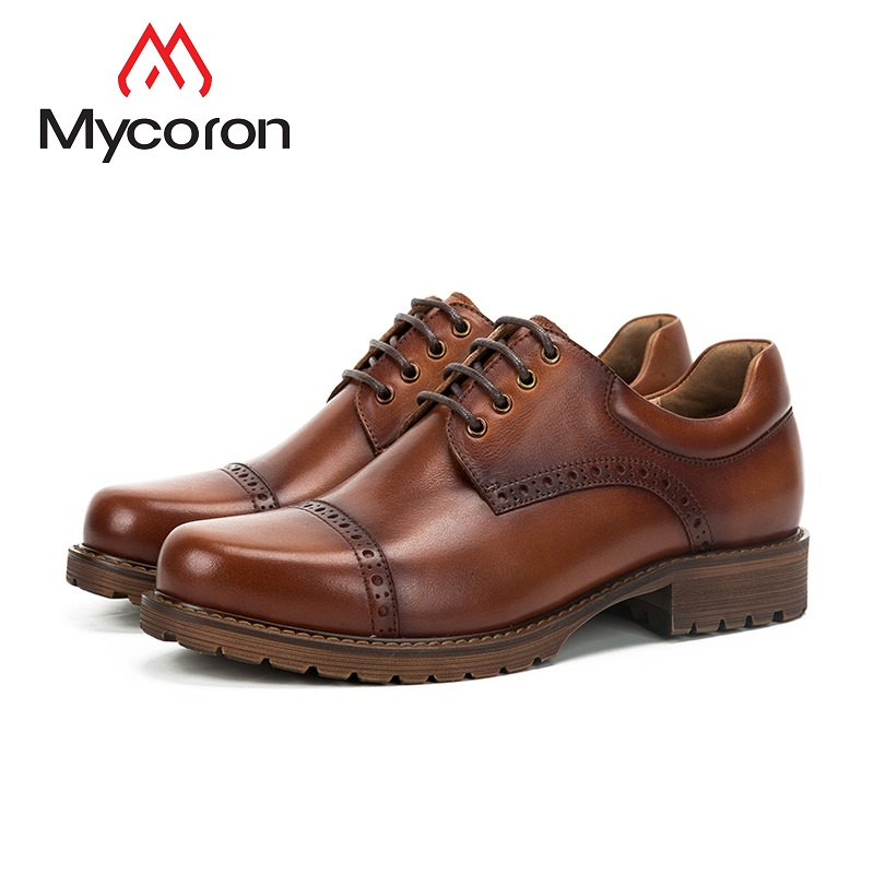 MYCORON Luxury Fashion Men Dress Shoes Men Leather Brogue Mens Boots Casual Business Comfort Shoes Chaussure Homme Cuir fashion skull print mens top leather dress shoes designer elevator wedding shoes for men business oxfords chaussure homme