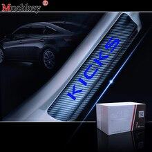 Car Styling For Nissan Kicks Carbon Fiber Vinyl Sticker Door Sill Protector Scuff Plate sill guard Accessories 4Pcs