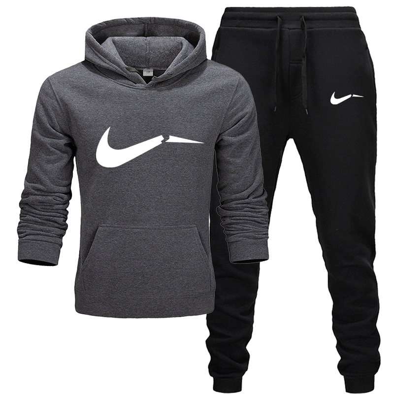 New Tracksuit Men Hoodies Suit Fleece Warm Sweatshirt +Pants Brand Print Set Homme Leisure Fitness Jogging Suit 2019