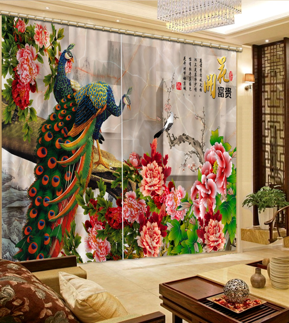 Modern Custom Chinese 3d Curtains Blossoming Peacock Window Curtain Living Room Kitchen Door