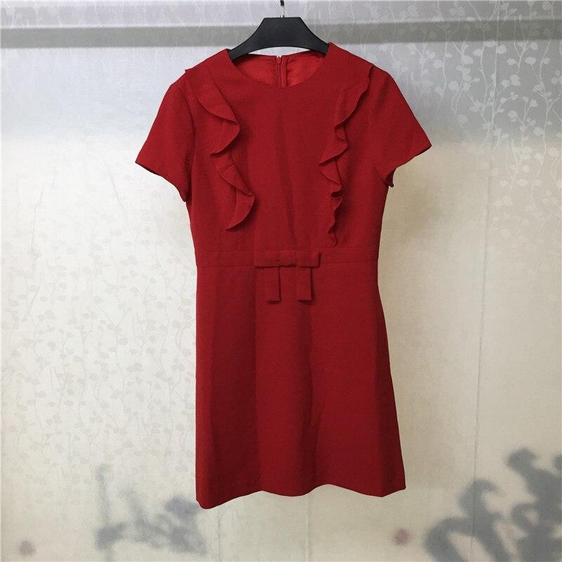 Red Dress Elegant Women Mini Dresses 2019 Summer Casual Short Sleeve Dress Ruffles Female Vestidos in Dresses from Women 39 s Clothing