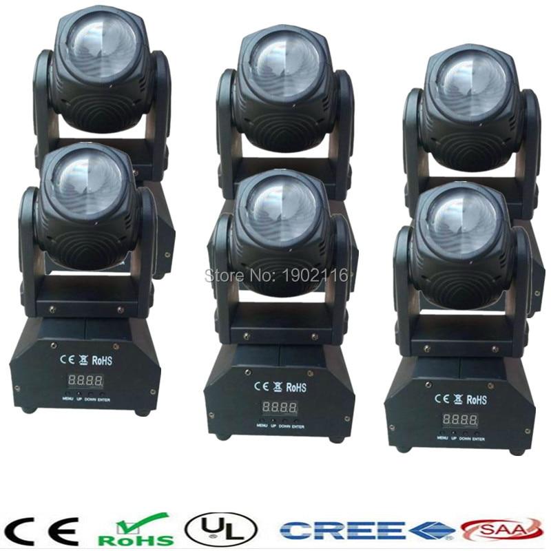 ФОТО 6pcs/lot Mini LED 10W RGBW Beam Moving Head Light /High Power with Professional DMX stage light/ Party Disco DJ lights/LED beam