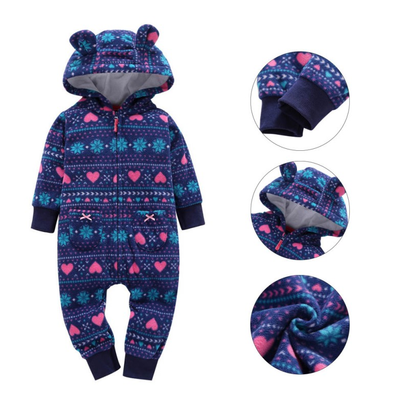 Free Shipping Kids Baby Rompers Costume Newborn Baby Boys Girls Clothing Infant Toddler Winter Jumpsuit 0-24M 6m 3years baby winter overall toddler warm velvet bear hooded rompers infant long pants kids girls boys jumpsuit pink blue