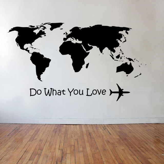 YOYOYU Wall Decal Do What Love Airplane Wall Sticker Home Decoration  Accessories Word Map Vinyl Art