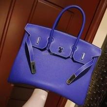 2017 fashion dark blue head layer leather bag jacket high-end ladies handbag