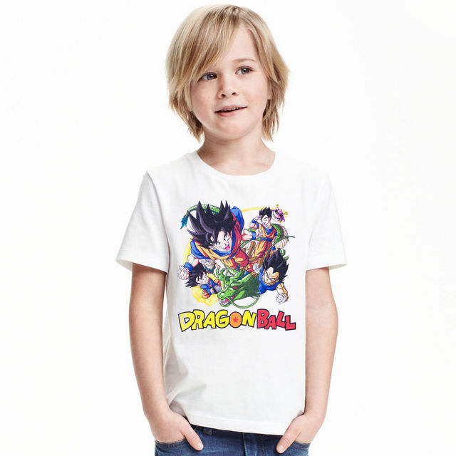 2017 New Dragon Ball Crianças T-shirt 100% Algodão Branco de Malha Son Goku Crianças T Camisa Roupas de Bebê Menino Gril Tops Tees