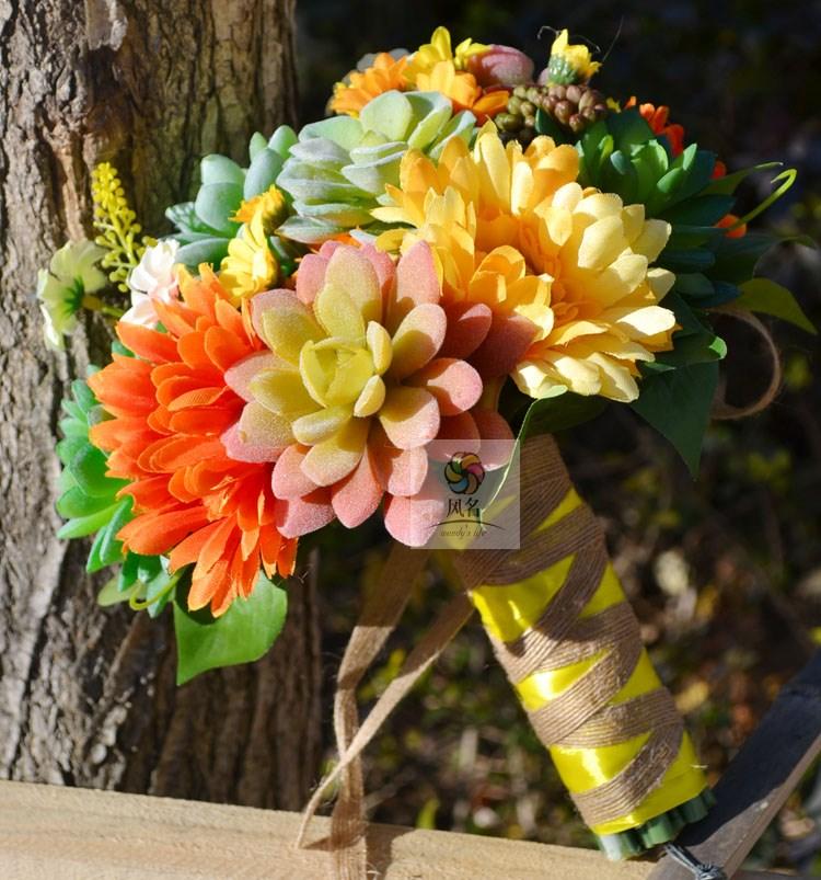 Fatti a mano Mazzi di Fiori Reale di Tocco Fiori Artificiali piante Succulente Forniture di Nozze della Damigella D'onore Nuziale Bouquet Decorazione Della Casa