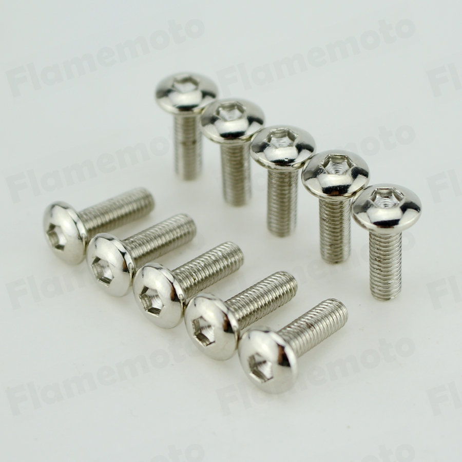Motorcycle 10pcs Steel Bolts Screw Chrome M5 X 16mm Hight Quality
