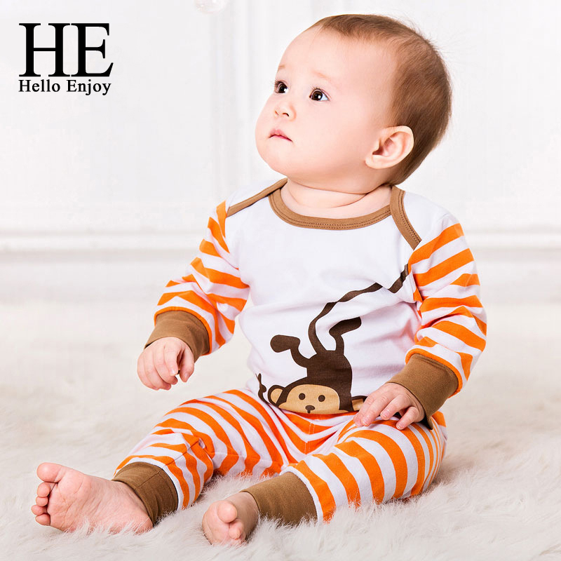 Baby boy clothes sets 2017 autumn winter long sleeves cotton cartoon bodysuit + striped pants 2pcs for newborn baby girl clothes new arrival autumn newborn baby girl boy clothes suits cartoon cardigan knitting coat long pants infant baby clothing sets 2pcs