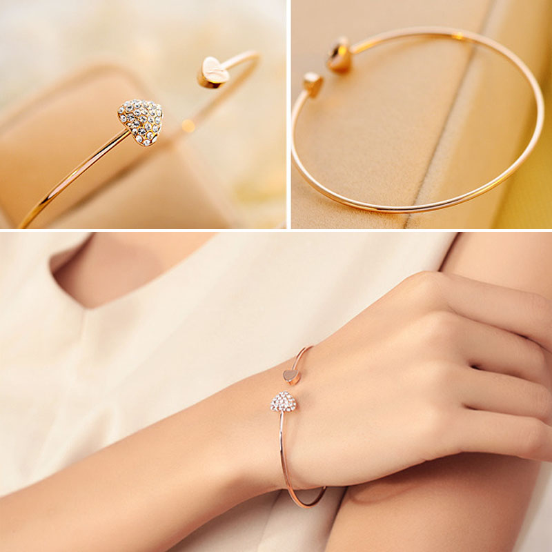 Fashion Adjustable Crystal Bracelet Double Heart Bow Cuff Opening Bracelet For Women Bangle Jewelry Gift Mujer Pulseras in Bangles from Jewelry Accessories