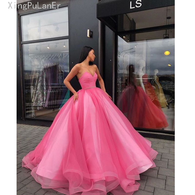 Ball Gown Candy Color Tulle Coral Long   Prom     Dress   Royal Blue Vestido De Festa Off The Shoulder Cheap Formal Evening Gown 2019