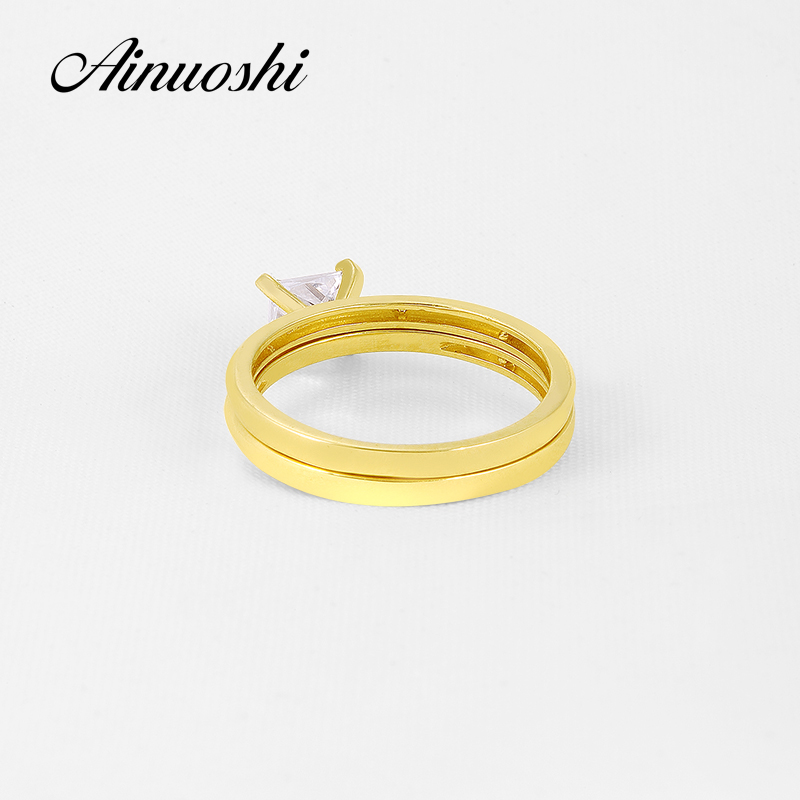 AINUOSHI 14K Solid Yellow Gold Wedding Ring Set Classic Plain Band Suquare Sona Diamond Solitaire Bridal Rings Set Women Jewelry