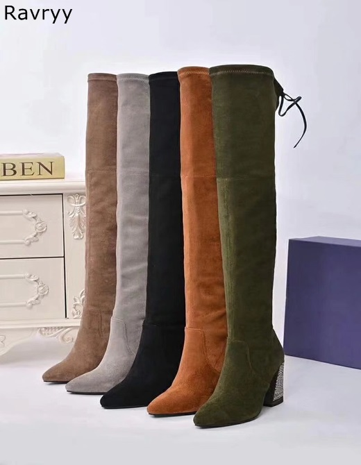 Hot Sale Slip-on Woman long Boots Suede Leather Over-the-knee Boots Crystal Decor Thick Heel Autumn Winter Female ShoesHot Sale Slip-on Woman long Boots Suede Leather Over-the-knee Boots Crystal Decor Thick Heel Autumn Winter Female Shoes