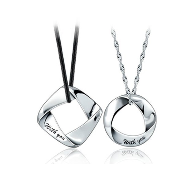 AGOOD 2017 [One pair] perfect match couple necklace 925 sterling silver jewelry pendant gift to send men and women girlfriend