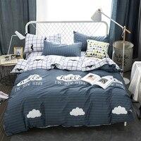 Plaid Bedspread 100 Cotton Cloud Pattern Duvet Cover Set Queen Size Bedding Set For Adults Beard