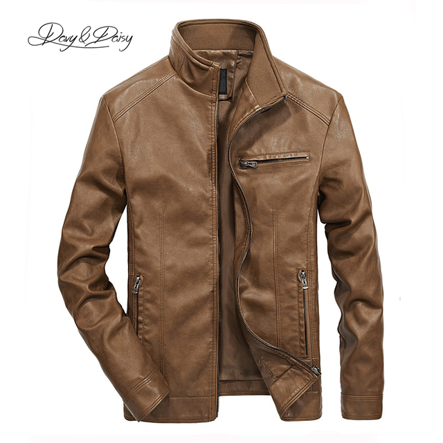 US $23.99 47% OFF|DAVYDAISY 2019 High Quality PU Leather Jackets Men Autumn Solid Stand Collar Fashion Men Jacket Jaqueta Masculina 5XL DCT 245 in