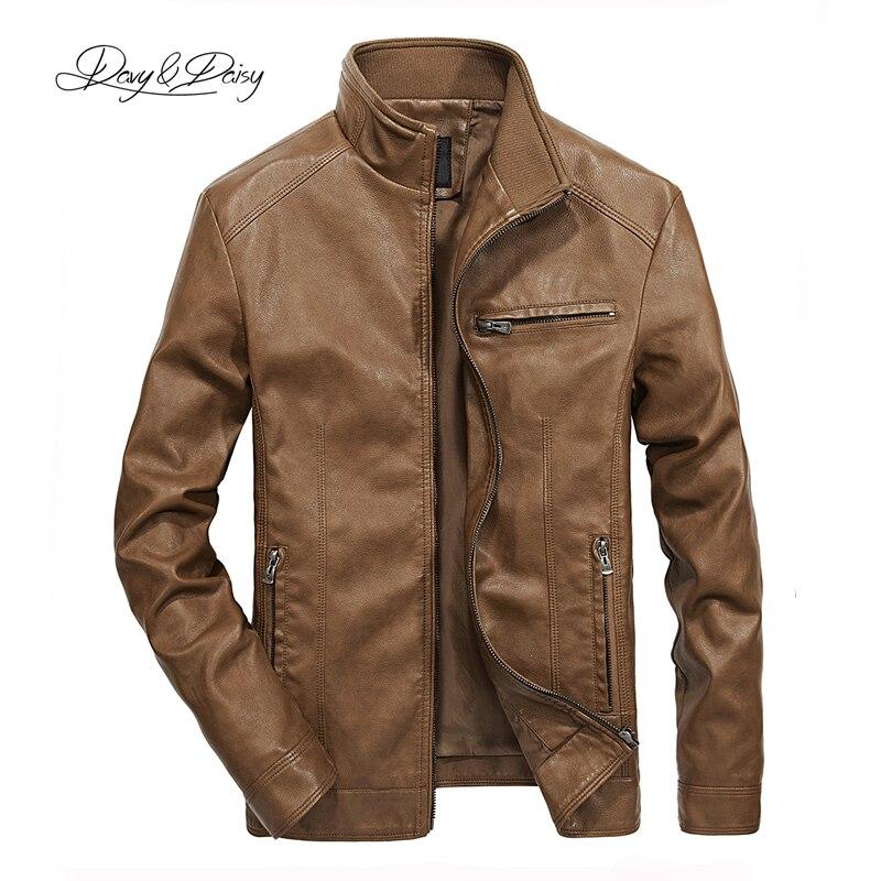 DAVYDAISY 2019 de alta calidad de la PU chaquetas de cuero hombres otoño soporte sólido Collar de moda chaqueta de los hombres Jaqueta Masculina 5XL DCT-245