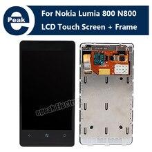 ЖК-Дисплей С Сенсорным Экраном Стеклянной Линзой Дигитайзер Ассамблеи + Рамка для Nokia Lumia N800 800 НОВАЯ замена ремонт часть инструмента комплекты(China (Mainland))