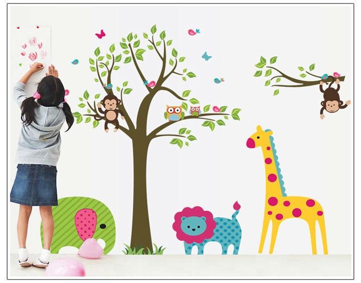 ⊰Gran Árbol de dibujos animados con mono búho y pájaros pegatinas ...