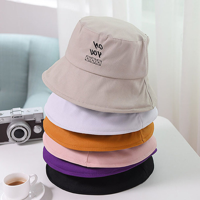 71b8f1fee8876 2018 New Simple Bucket Hat Men Letter Embroidery Solid Color Women s Cloth  Hat Spring Autumn Casual