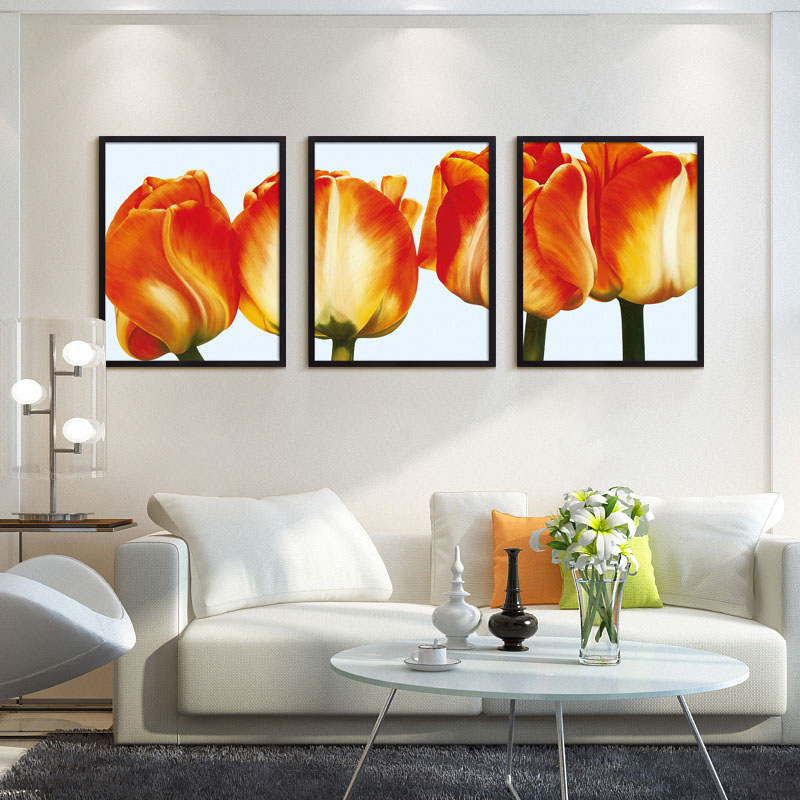 Big Red Flower Canvas Painting Cuadro Wall Picture Oil Paint Floral Patterns Painting for Lounge Lover Present no Frame