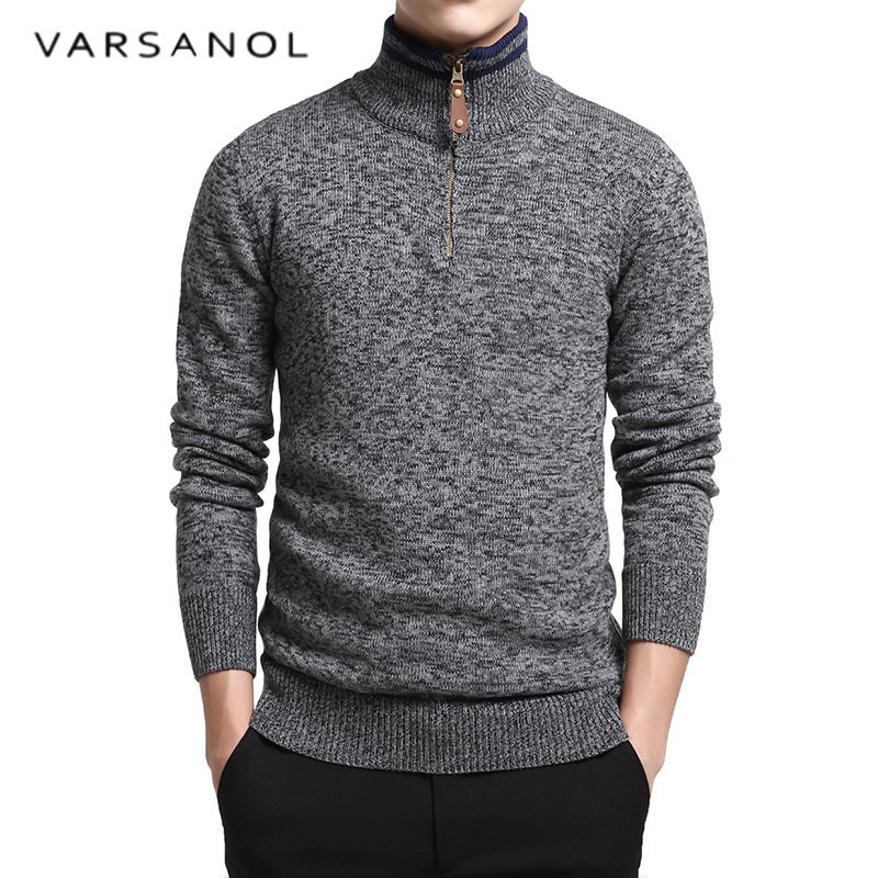 Varsanol Cotton Sweater Man Long Sleeve Outwear Mens Stand Collar Sweaters Solid Zipper Fit Knitting Casual Style Clothing New