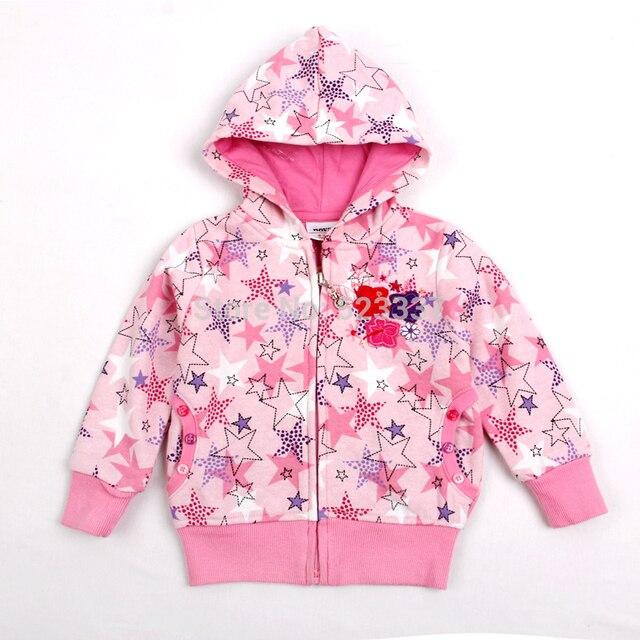 Детская одежда толстовки пиджаки НОВА дети девочки зимнюю одежду красивые звезды печатных девочек толстовки бренд куртки F3332