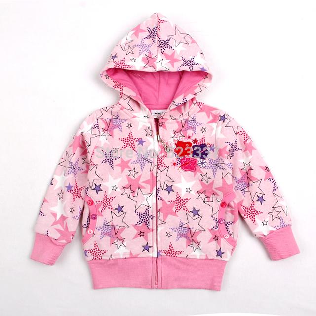 Ropa de niños hoodies outwear ropa NOVA niños niñas de invierno hermosas estrellas impreso hoodies de las muchachas marca chaquetas F3332