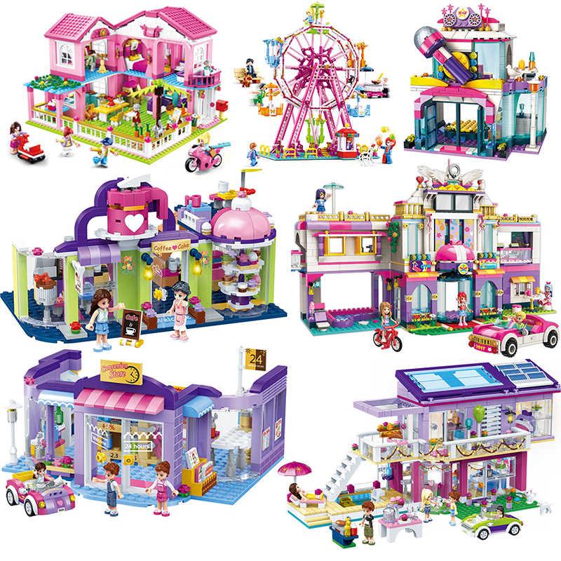 Друзья серии замок Вилла магазин колесо обозрения игровая площадка модель строительные блоки кирпичи игрушки для детей девочек игрушка Рождественский подарок