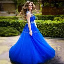 Robe De Soiree Plus Größe Ballkleider Schnelles Verschiffen Cap hülse Bördelte Elegantes Königsblau Abendkleider Formale Party Kleider 2017