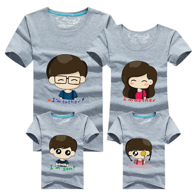 12b8cd2edb8e3 US $5.65 |2015 Korean Fashion Family Matching Clothing Cartoon Father  Mother Daughter Son Printed Summer T shirt Children's Clothing-in Matching  ...