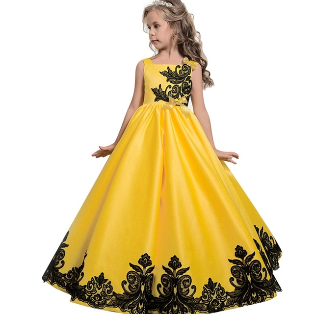 2018 Children Clothes Kids Embroidery Black Lace Fluffy Dress Girls Satin  Classic Bright Yellow Princess Dress For Wedding Party-in Dresses from  Mother ... a0d5a60e50bc
