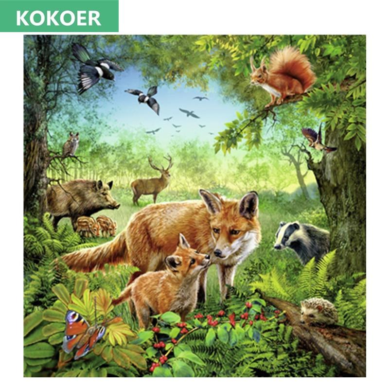 Broderie completă, broșă diamantată, pădure animală Fox, - Arte, meșteșuguri și cusut