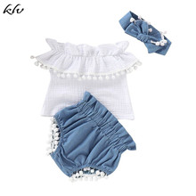 KLV 3PCS Newborn Baby Girls Off Shoulder Ruffle Tops+Shorts Pants Outfits Set Cotton kid Clothes недорого